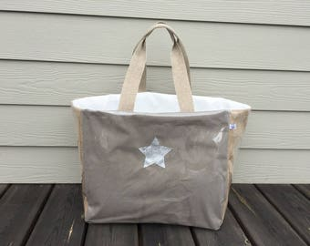 Cotton Beach Tote and jute bag