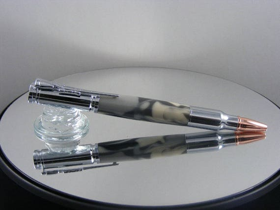 Handcrafted Bolt Action Pen in Chrome and Urban Camo Acrylic