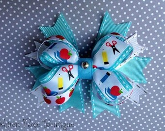 """4"""" Back To School Inspired Layered Boutique Hair Bow"""