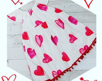Valentine's dress, heart pom pom dress, valentine's toddler dress