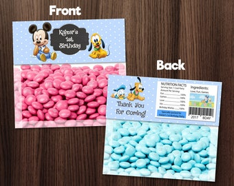 Personalized Baby Mickey Mouse Baby Pluto Baby Blue Polka Dots Birthday Party Baby Shower Bag Topper Favors Printable DIY - Digital File