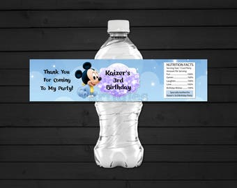 Personalized Baby Mickey Mouse Water Bottle Label Clouds and Stars First 1st Birthday Party Bokeh Printable DIY - Digital File