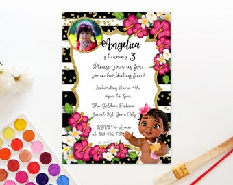 Personalized Baby Moana First 1st Birthday Party Invitation Invite Black White Gold Confetti Tropical Flowers Hibiscus - Digital File