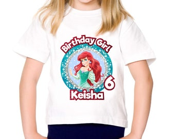 Personalized The Little Mermaid Princess Ariel Birthday Girl Tshirt Party Tee Shirt Iron On Transfer Image Printable DIY - Digital File
