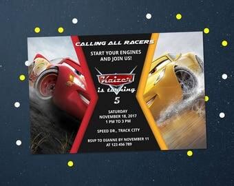 Personalized Cars 3 Lightning Mcqueen Cruz Ramirez Birthday Party Invitation Race Car Racing Invite Printable DIY - Digital File