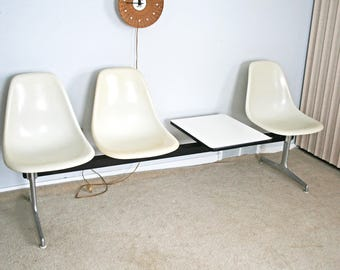 vintage mid century Herman Miller Eames tandem contract fiberglass shell chair bench