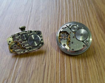 Watch Movement Brooch/Tie Pin. Upcycled Hande made by Small Ridge
