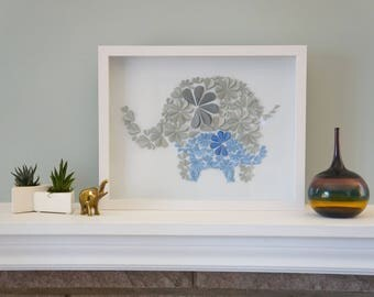 Elephant Love in Blue - Unique Framed Paper Art for Home Decor.  Perfect Baby Shower Gift for Children's Bedroom. By DinoCat Studio