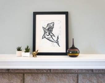 Shark - A Ferocious Handmade Woodcut Print for Your Home! Woodblock Print by DinoCat Studio