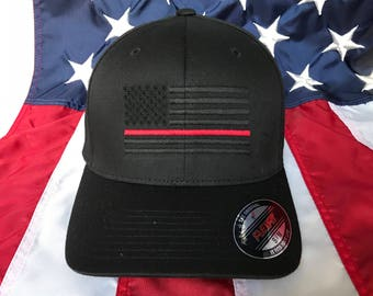 Free personalization, Thin red line hat Fire fighter station blacked out American flag hat, fire cap, custom fire fighter gift embroider