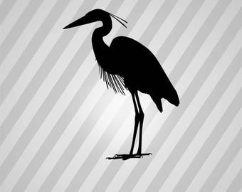 Blue Heron Silhouette Blue Heron Bird - Svg Dxf Eps Silhouette Rld Pdf Png AI Files Digital Cut Vector File Svg File Cricut Laser Cut