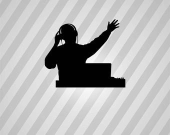 dj Silhouette - Svg Dxf Eps Silhouette Rld RDWorks Pdf Png AI Files Digital Cut Vector File Svg File Cricut Laser Cut