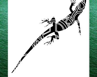 Lizard Papercut Template Mandala Henna - Svg Paper Cut Templates Stencil Line Art Pdf Cut Files Digital Clip Art Drawing