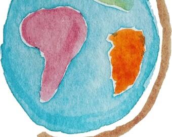 Watercolor Globe - Printable Digital Clipart