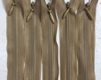 Brown 50cm Invisible Zippers