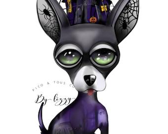 Halloween Haunted House Chihuahua Art Print 8.5x11