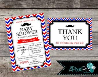 Mustache baby shower invite, mustache baby shower invite, mustache baby shower, baby shower mustache, mustache boy baby shower, ANY COLOR