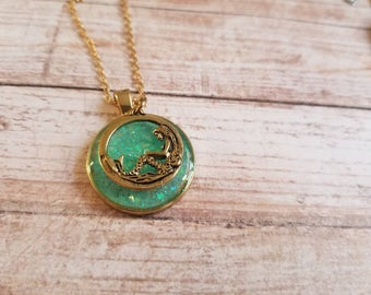 Mermaid Magic Necklace, green, gold and silver