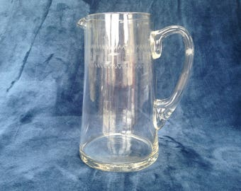 Antique Edwardian Greek key pattern etched glass jug