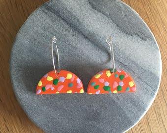 Orange Speckled Half Moon Earrings