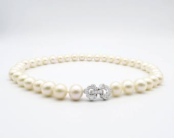 ASAMAG-Cream Pearl Necklace-11mm with 925 Silver Clasp (2cm)