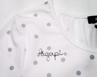 Note sewing - handwriting jewelry - personalized - name garment - brand - brooch - clothing, garment decoration