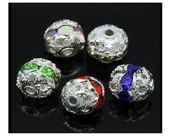 X 5 round beads filigree with Rhinestones