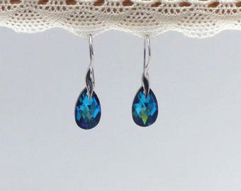Earrings dangle blue Turquoise Swarovski Crystal
