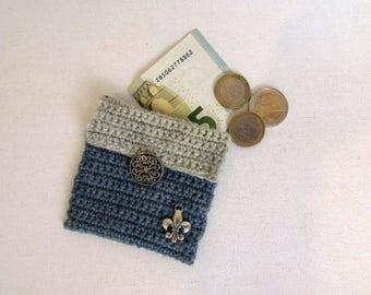 blue/grey crochet coin purse pouch