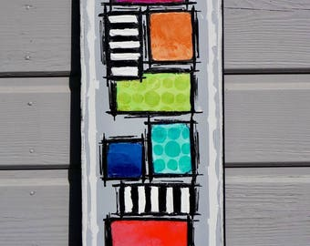 Unique geometric abstract contemporary painting