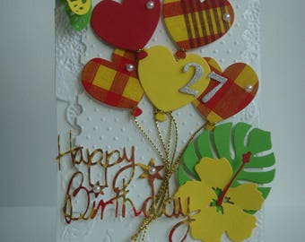 Kit card white embossed hibiscus (specify figures) birthday theme madras make you even