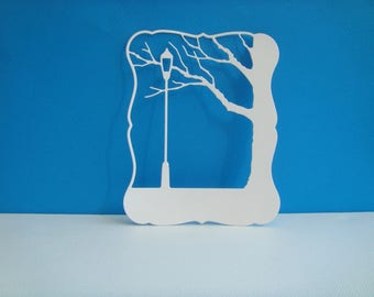 Cutout hollow frame landscape white design for scrapbooking and card paper