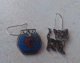 CAT and fish bowl earrings