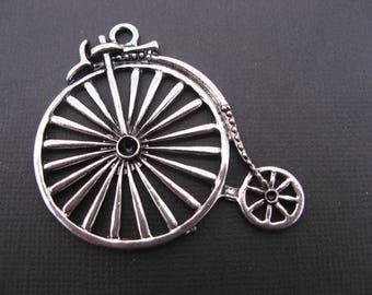 2 large pendants velocipedes 46 mm silver - charm