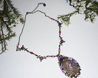 Pink Purple Crystal set cameo necklace on bronze chain