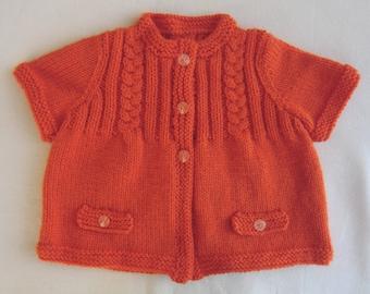 Jacket - Cardigan - wool - orange color - for baby girl - size 12 months - short sleeved knit - gift idea