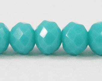 set of 48 faceted 6 x 4 mm imitation jade glass beads