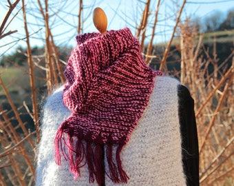 The cat-fun pink/plum Heather fringe scarf