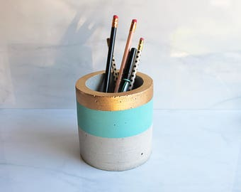 "Concrete Cylinder Pot - Large Geometric Planter - 4"" Tall - Custom Color Stripe with Gold Leaf Rim"