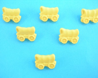 LOT 6 buttons: 16mm yellow wagon