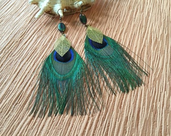 Feather earrings Peacock bronze support 12 cm