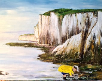 """Palette knife oil painting """"peach walk"""" at the foot of the cliffs of Normandy fishing day"""