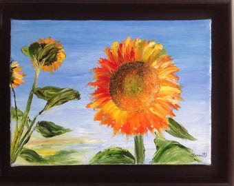 """Table knife with framed oil painting """"Sunflower"""""""
