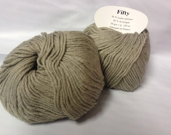 laine - / 10 balls of yarn 50% Merino / beige linen / made in FRANCE