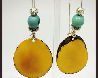 Silver earrings ivory vegetable yellow and turquoise acai