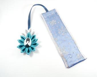 Destash, original price 10 euro satin, kanzashi flower and snowflake Ribbon bookmark. Frozen inspired