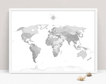 World map wall art etsy gray world map wall art bedroom world map art printable grey watercolor world map sciox Image collections