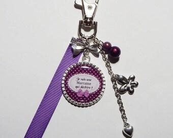 "Keyring - godmother bag charm ""I'm a godmother who rocks"" / personalized/gift"