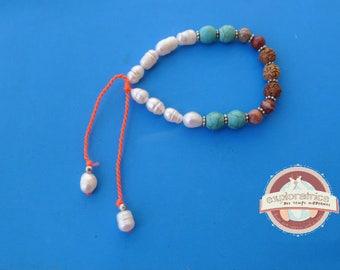 adjustable bracelet seed Pearl saddhu stone and metal