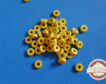60 ethnic washers 2x6mm yellow ceramic beads